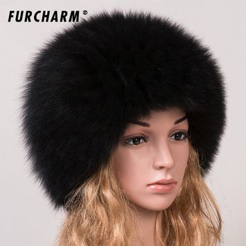 Women 's Genuine Fox Fur Beanies Russian Winter Warm Fur Hat 100% Real Fox Fur Knitted Hat Casual Dome Mongolian Caps