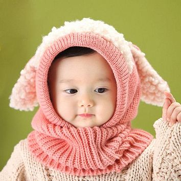 Winter Baby Hat And Scarf Joint With Dog Crochet Knitted Caps for Infant Boys Girls Hooded Earflap Children Kids Neck Warmer D10