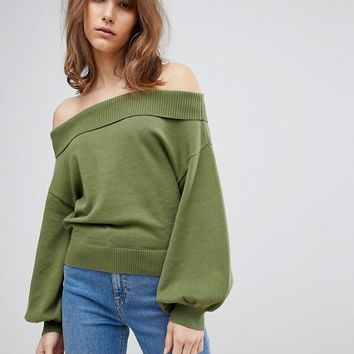 ASOS Jumper With Off Shoulder And Full Sleeve at asos.com