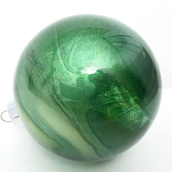 Stained Glass Christmas Ornament Bulb - Green Swirl - Stained Glass Inspired - Glass Christmas Ornaments