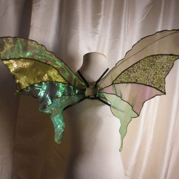 OOAK Unique Green Iridescent Fairy Wings Woodland Fairy Costume