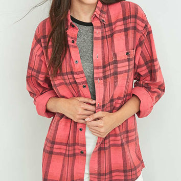 Urban Renewal Vintage Customised Overdyed Berry Plaid Flannel Shirt - Urban Outfitters
