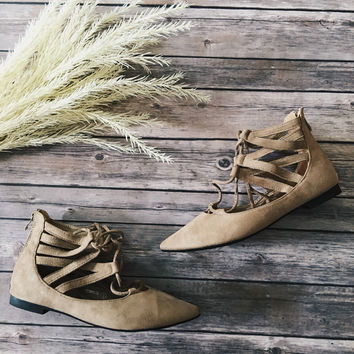 Tempo Lace Up Flats (Taupe)