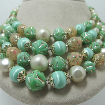 JAPAN Mint Green Four Stranded Beaded Necklace