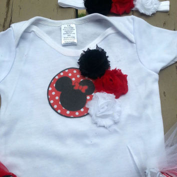 Minnie Mouse Outfit - Minnie Birthday Party Tutu - Disney Inspired - Baby Girl, Toddler, Girls