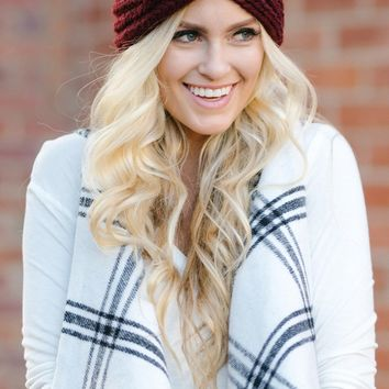 Cynthia Burgundy Knit Headband