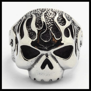 Ghost Era - Fired Skull Ring - Silver