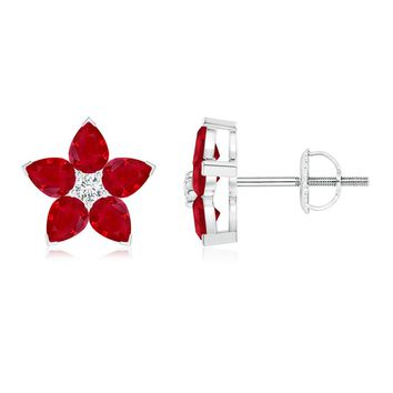 V-Prong Set Pear Ruby and Diamond Flower Earrings