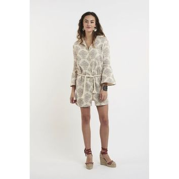 Wategos Shirt Dress in Ivory & Mauve