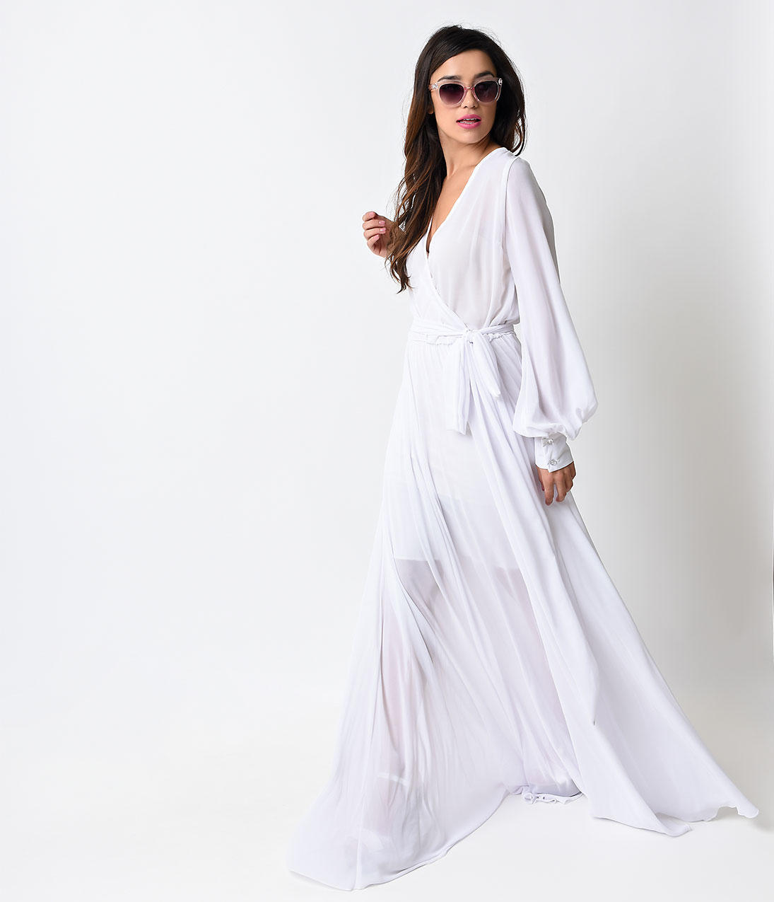 f66e17c4c02c 1970s Style Clean White Long Sleeve Maxi from Unique Vintage