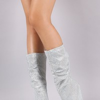 Bamboo Rhinestones Slouchy Cone Heeled Mid Calf Boots
