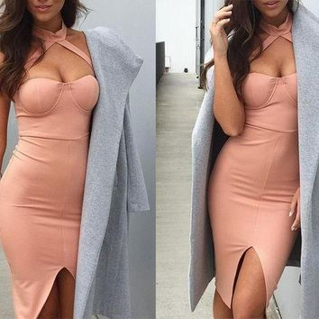 ESBC8S Elegant halter pink bandage dress Sexy front split evening party bodycon dresses