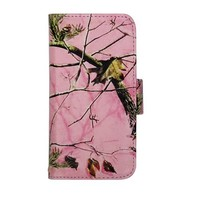 Apple iPhone 5 5s Pink Camo Mossy Tree Leather Wallet Purse Handbag Case Cover with Clear Slot for ID, Credit Card Slots and Hidden Slot for Cash