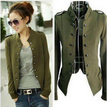 Hot Womens Jacket Epaulet Cotton Double Breasted Long Sleeve Short Coat Surcoat = 1929939716