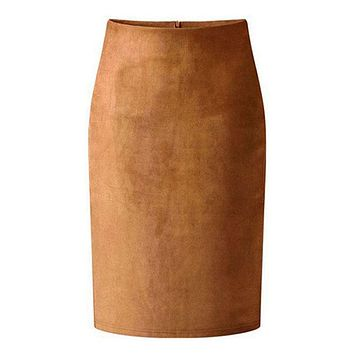 High Street Women Suede Multi Color Pencil Midi Skirt Female 2018 Spring Autumn Winter Basic Tube Bodycon Skirts
