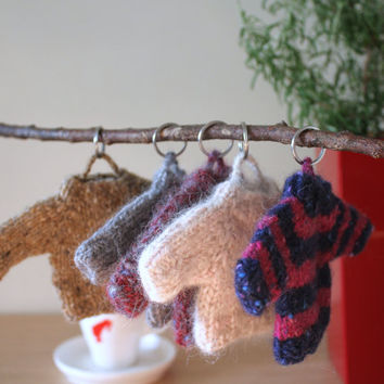 Hand knitted keyring mini sweater, Keychain, Bag charm, Small gift, Knitted gifts, Stocking stuffers