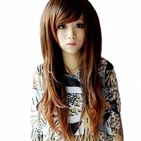 MapofBeauty Beautiful Natural Long Straight Wigs-Light Brown-Ladies