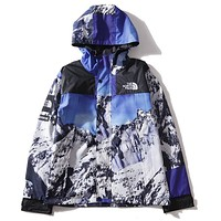 The North Face X Supreme New Popular Women Men Loose Snow Mountain Pattern Hooded Zipper Cardigan Sweatshirt Jacket Coat Windbreaker Sportswear I12683-1