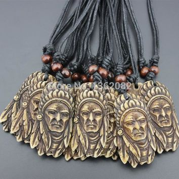 12pcs/lot Hand Carved Yak Bone Aboriginal Tribal Head Indian Chief Pendant Necklace Wood Beads Rope Adjustable YN147