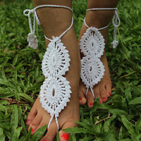 Handmade Knitting Hollow Out Lace Anklet Bracelet Crochet Barefoot Sandals Foot Jewelry Accessory Gift-23