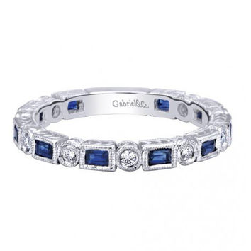 Gabriel Bezel Set Blue Sapphire & Diamond Stackable Ring