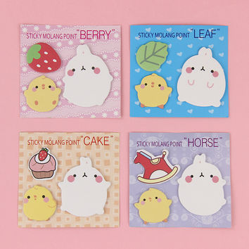 1 PCS Kawaii Korea Molang Rabbit N Times Sticky Notes School Office Stationery For Kids Study Supplies