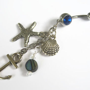 Anchor Abalone Belly Ring, Starfish Nautical Navel Ring, Birthstone Belly Button Ring, Ocean Shell Body Jewelry, Abalone Navel Ring