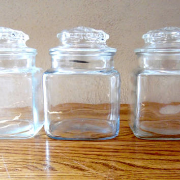 Square Clear Glass Canister Set of Three Canisters Storage Containers Glass Apothecary Jar