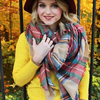 Red Plaid Pattern Fringed Scarf