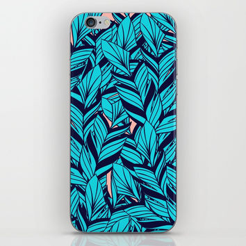 Blue Banana Leaf Pattern iPhone & iPod Skin by cadinera