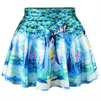 Fashion Women Retro Vintage Digital Print Alice In Wonderland Skater Skirt (Size: M) = 1946558852
