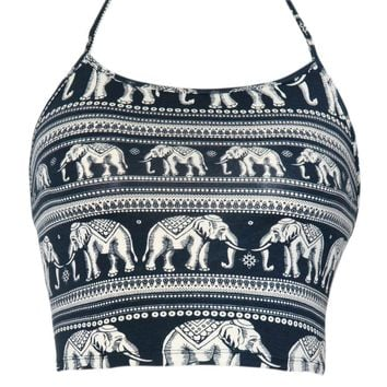 Fonda Halter Crop in Elephant Parade Black and White by Motel