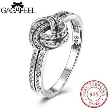 GAGAFEEL Brand Knot Weaved Sterling Silver Women's Engagement Ring