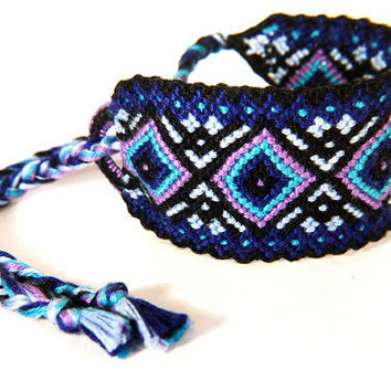 Tribal Blue Wide Friendship Bracelets - Handmade Bohemian Knotted String Large Unisex Braclet - Gift for Best Friends or Teenager