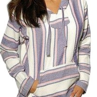 Girls Mexican Baja Hoodie Sweater Jerga Pullover Lavender Pink White