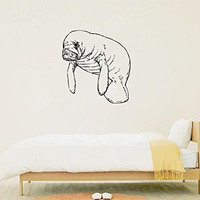 Manatee Silhouette Vinyl Wall Decal Sticker Graphic