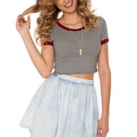 Aracely Stripe Crop Top - Burgundy