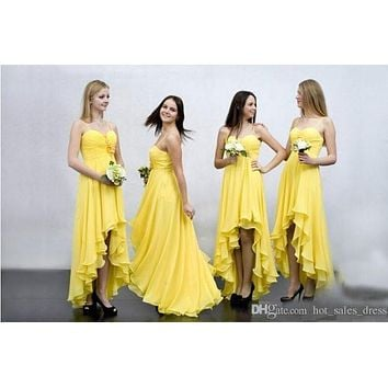 Yellow Chiffon High Low Bridesmaid Dresses For Wedding 2017 Cheap Spaghetti Ruffles Tiered Gowns Cheap Prom Long Party Dresses