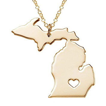Fashion Jewelry Stainless Steel Gold Michigan State Map With Heart Necklace for Women + Gift Bag