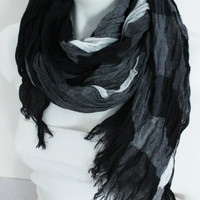 Men's scarves, Long scarves men, Striped men scarves, Organic linen, Black gray white scarf, Striped scarf, Striped scarf Men
