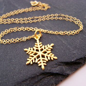Snowflake Charm Necklace - 14k Gold Fill Necklace - Simple Jewelry - Dainty Necklace - Gold Fill Jewelry - Winter Necklace - Gift for Her