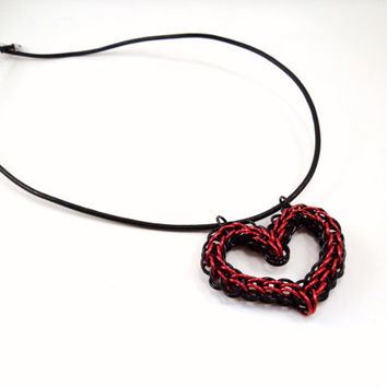 Chainmail Heart Necklace