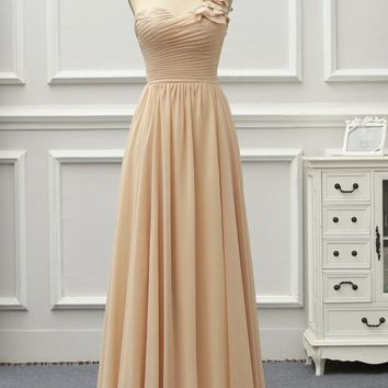 Formal Long Evening Dress One Shoulder Chiffon Prom Event Gowns Party