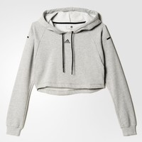 adidas Women's Cropped Hooded Sweatshirt - Grey | adidas Canada