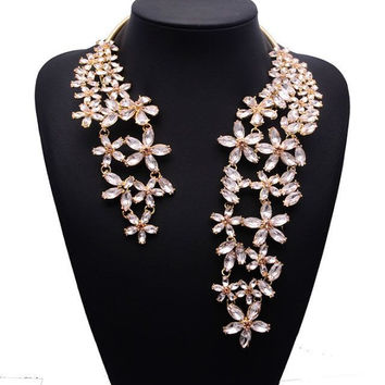 2015 Spring Summer New Hot Fashion Jewelry Chunky Gem Crystal Flower Choker Necklace Single Shoulder Statement Necklace XG587