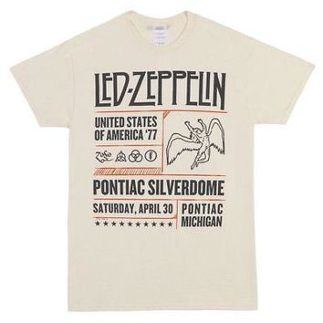 Led Zeppelin Pontiac Silverdome Band Logo Licensed Adult T-Shirt - Cream