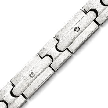 Stainless Steel Men'S Brushed Round Shape Synthetic Cubic Zirconia Bracelet