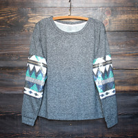 chevron sequin aztec sleeves top , charcoal