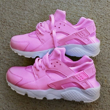Nike Air Huarache Hot Pink with white sole custom.