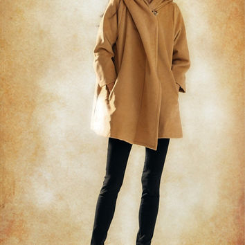 Hooded Cape Cloak for Women in Black/Camel/White, Winter Cape Coat, Wool Cape, Wool Cloak, Wool Long Coat